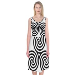 Triple Spiral Triskelion Black Midi Sleeveless Dress
