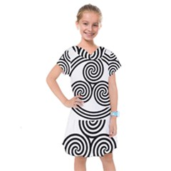 Triple Spiral Triskelion Black Kids  Drop Waist Dress