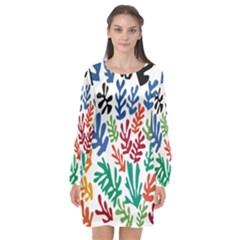 The Wreath Matisse Beauty Rainbow Color Sea Beach Long Sleeve Chiffon Shift Dress