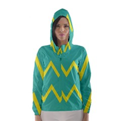 Waves Chevron Wave Green Yellow Sign Hooded Wind Breaker (women) by Mariart