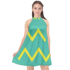 Waves Chevron Wave Green Yellow Sign Halter Neckline Chiffon Dress