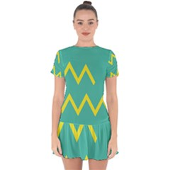 Waves Chevron Wave Green Yellow Sign Drop Hem Mini Chiffon Dress by Mariart