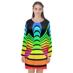 Twisted Motion Rainbow Colors Line Wave Chevron Waves Long Sleeve Chiffon Shift Dress  by Mariart