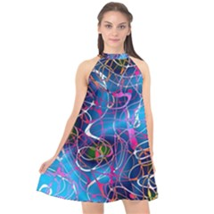 Background Chaos Mess Colorful Halter Neckline Chiffon Dress  by Nexatart