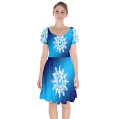 Background Christmas Star Short Sleeve Bardot Dress by Nexatart