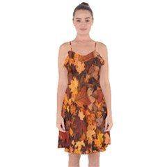 Fall Foliage Autumn Leaves October Ruffle Detail Chiffon Dress by Nexatart