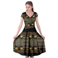 Board Digitization Circuits Cap Sleeve Wrap Front Dress by Nexatart