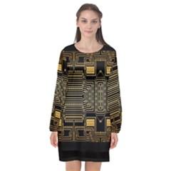 Board Digitization Circuits Long Sleeve Chiffon Shift Dress  by Nexatart