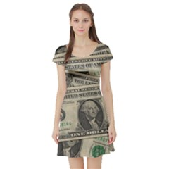 Dollar Currency Money Us Dollar Short Sleeve Skater Dress
