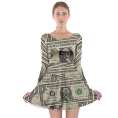 Dollar Currency Money Us Dollar Long Sleeve Skater Dress by Nexatart