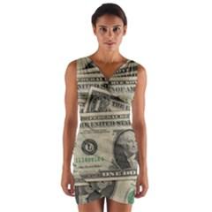 Dollar Currency Money Us Dollar Wrap Front Bodycon Dress by Nexatart