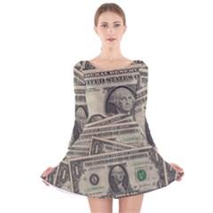 Dollar Currency Money Us Dollar Long Sleeve Velvet Skater Dress by Nexatart