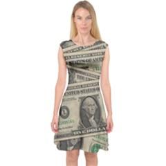 Dollar Currency Money Us Dollar Capsleeve Midi Dress by Nexatart