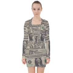 Dollar Currency Money Us Dollar V Neck Bodycon Long Sleeve Dress by Nexatart
