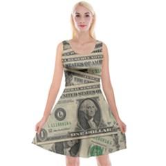 Dollar Currency Money Us Dollar Reversible Velvet Sleeveless Dress by Nexatart