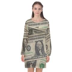 Dollar Currency Money Us Dollar Long Sleeve Chiffon Shift Dress  by Nexatart