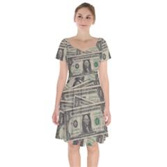 Dollar Currency Money Us Dollar Short Sleeve Bardot Dress by Nexatart