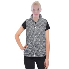 Grid Wire Mesh Stainless Rods Women s Button Up Puffer Vest by Nexatart