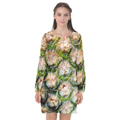 Pineapple Texture Macro Pattern Long Sleeve Chiffon Shift Dress