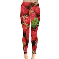 Strawberries Berries Fruit Leggings  by Nexatart