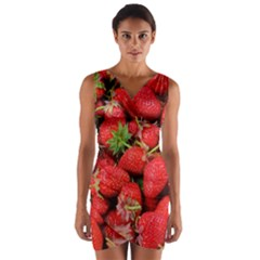 Strawberries Berries Fruit Wrap Front Bodycon Dress by Nexatart