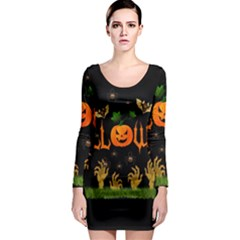 Halloween Long Sleeve Bodycon Dress by Valentinaart