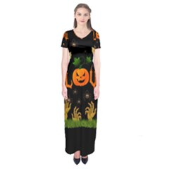 Halloween Short Sleeve Maxi Dress by Valentinaart