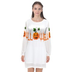 Halloween Long Sleeve Chiffon Shift Dress  by Valentinaart