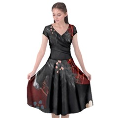 Awesmoe Black Horse With Flowers On Red Background Cap Sleeve Wrap Front Dress by FantasyWorld7