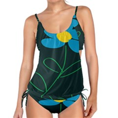 Whimsical Blue Flower Green Sexy Tankini Set by Mariart
