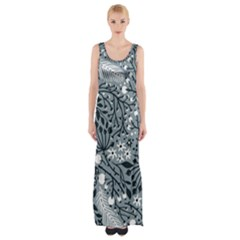Abstract Floral Pattern Grey Maxi Thigh Split Dress