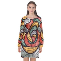 Beautiful Pattern Background Wave Chevron Waves Line Rainbow Art Long Sleeve Chiffon Shift Dress