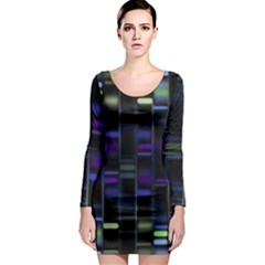 Biostatistics Line Blue Long Sleeve Bodycon Dress by Mariart