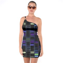 Biostatistics Line Blue One Soulder Bodycon Dress by Mariart
