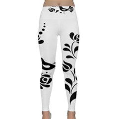 Birds Flower Rose Black Animals Classic Yoga Leggings by Mariart