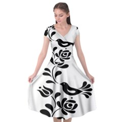 Birds Flower Rose Black Animals Cap Sleeve Wrap Front Dress by Mariart