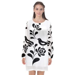 Birds Flower Rose Black Animals Long Sleeve Chiffon Shift Dress  by Mariart