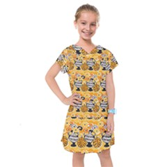 Amfora Leaf Yellow Flower Kids  Drop Waist Dress