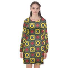 African Textiles Patterns Long Sleeve Chiffon Shift Dress
