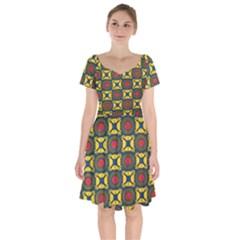 African Textiles Patterns Short Sleeve Bardot Dress