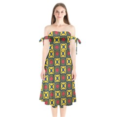 African Textiles Patterns Shoulder Tie Bardot Midi Dress by Mariart