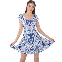 Birds Fish Flowers Floral Star Blue White Sexy Animals Beauty Cap Sleeve Dress
