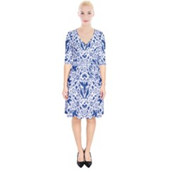 Birds Fish Flowers Floral Star Blue White Sexy Animals Beauty Wrap Up Cocktail Dress