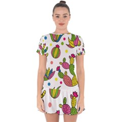 Cactus Seamless Pattern Background Polka Wave Rainbow Drop Hem Mini Chiffon Dress
