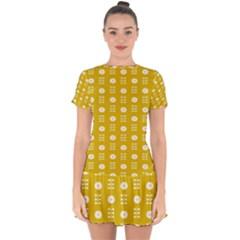 Circle Polka Chevron Orange Pink Spot Dots Drop Hem Mini Chiffon Dress