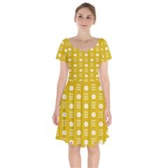Circle Polka Chevron Orange Pink Spot Dots Short Sleeve Bardot Dress by Mariart