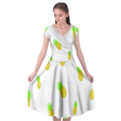 Cute Pineapple Fruite Yellow Green Cap Sleeve Wrap Front Dress