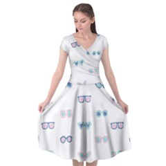 Cute Sexy Funny Sunglasses Kids Pink Blue Cap Sleeve Wrap Front Dress by Mariart