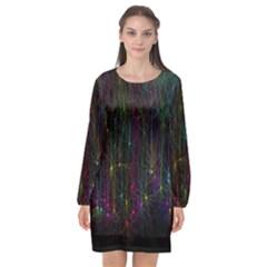 Brain Cell Dendrites Long Sleeve Chiffon Shift Dress  by Mariart