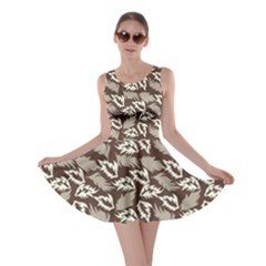 Dried Leaves Grey White Camuflage Summer Skater Dress